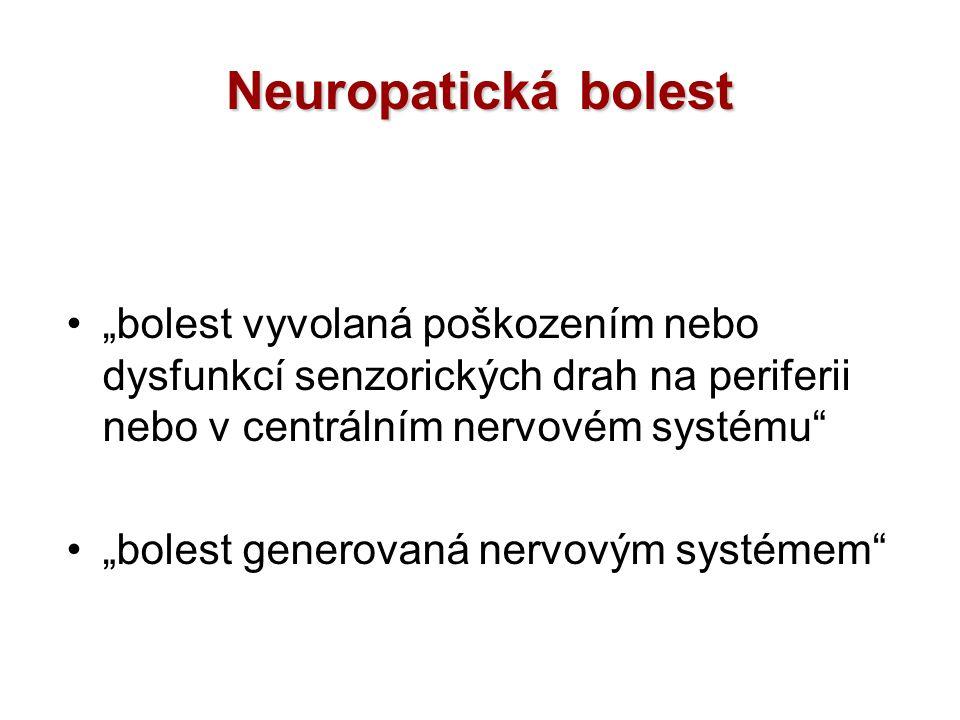 NMDA antagonisté … smíšené výsledky Ketamin –silný NMDA blokátor –vysoký výskyt NÚ –možnost lokální aplikace Dextrometorfan –… + diabetická, posttraumatická neuropatie –… - trigeminální neuropatie Memantin –jen malé klinické studie se smíšenými výsledky