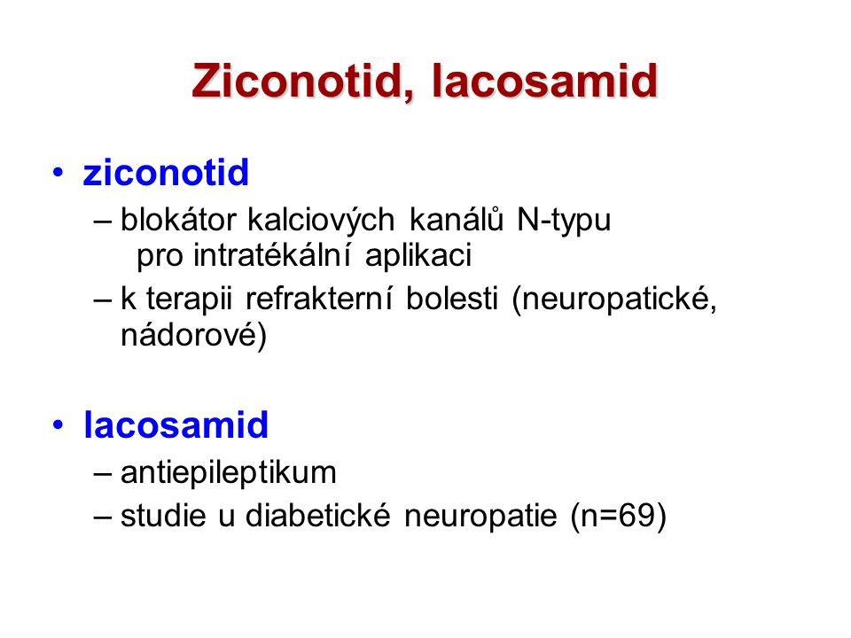 Ziconotid, lacosamid ziconotid –blokátor kalciových kanálů N-typu pro intratékální aplikaci –k terapii refrakterní bolesti (neuropatické, nádorové) la