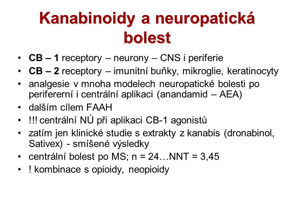 Kanabinoidy a neuropatická bolest CB – 1 receptory – neurony – CNS i periferie CB – 2 receptory – imunitní buňky, mikroglie, keratinocyty analgesie v