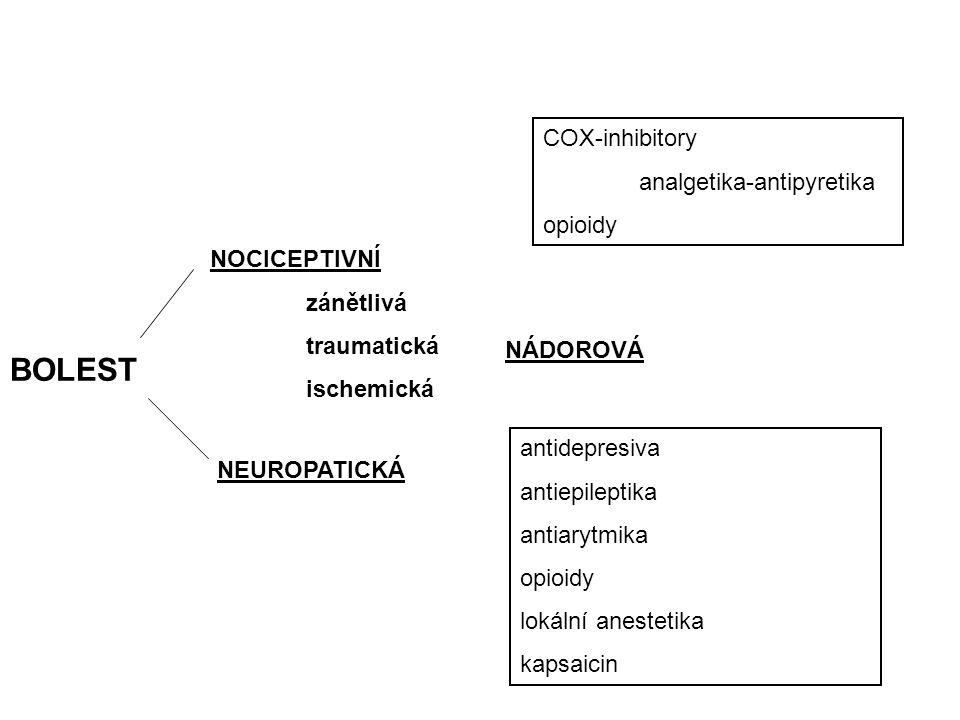 Opioidy silné, slabé Neopioidní (COX-inhibitory) NSA paracetamol tzv.