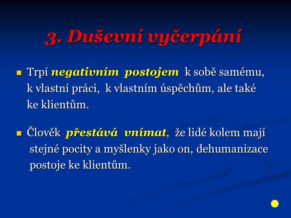 3. Duševní vyčerpání Trpí negativním postojem k sobě samému, Trpí negativním postojem k sobě samému, k vlastní práci, k vlastním úspěchům, ale také k
