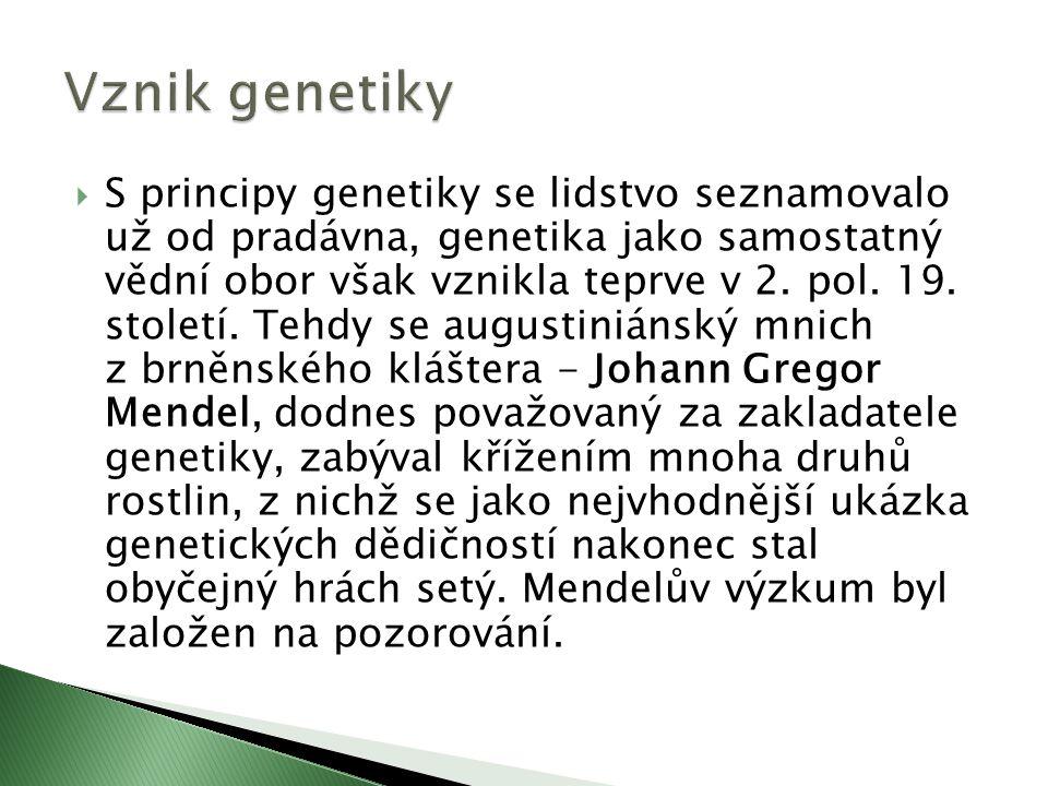  S principy genetiky se lidstvo seznamovalo už od pradávna, genetika jako samostatný vědní obor však vznikla teprve v 2.