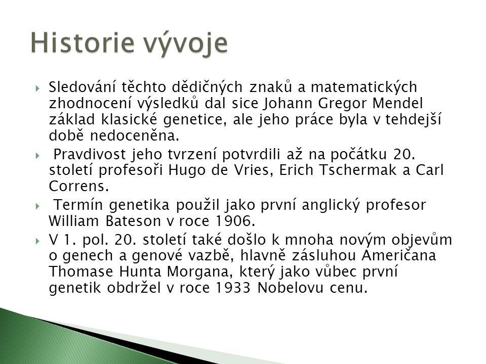  Sledování těchto dědičných znaků a matematických zhodnocení výsledků dal sice Johann Gregor Mendel základ klasické genetice, ale jeho práce byla v tehdejší době nedoceněna.