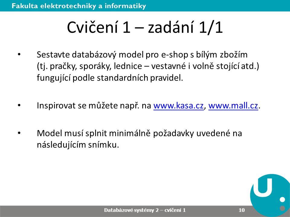 Cvičení 1 – zadání 1/1 Sestavte databázový model pro e-shop s bílým zbožím (tj. pračky, sporáky, lednice – vestavné i volně stojící atd.) fungující po