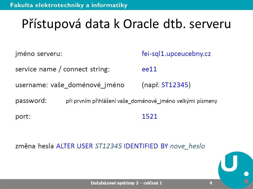 Přístupová data k Oracle dtb. serveru jméno serveru: fei-sql1.upceucebny.cz service name / connect string: ee11 username: vaše_doménové_jméno (např. S