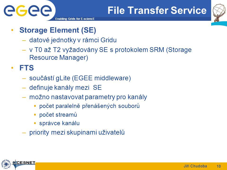 Enabling Grids for E-sciencE Jiří Chudoba 10 File Transfer Service Storage Element (SE) –datové jednotky v rámci Gridu –v T0 až T2 vyžadovány SE s protokolem SRM (Storage Resource Manager) FTS –součástí gLite (EGEE middleware) –definuje kanály mezi SE –možno nastavovat parametry pro kanály  počet paralelně přenášených souborů  počet streamů  správce kanálu –priority mezi skupinami uživatelů