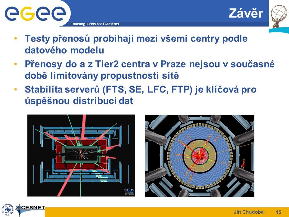 Enabling Grids for E-sciencE Jiří Chudoba 15 Závěr Testy přenosů probíhají mezi všemi centry podle datového modelu Přenosy do a z Tier2 centra v Praze nejsou v současné době limitovány propustností sítě Stabilita serverů (FTS, SE, LFC, FTP) je klíčová pro úspěšnou distribuci dat