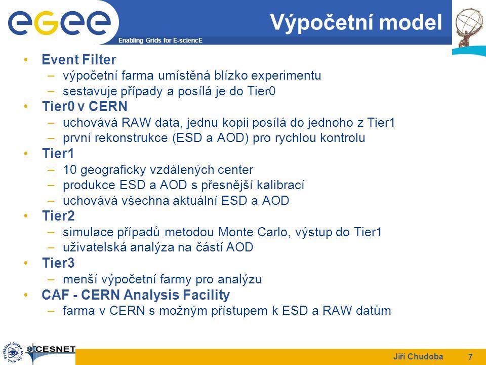 Enabling Grids for E-sciencE Jiří Chudoba 7 Výpočetní model Event Filter –výpočetní farma umístěná blízko experimentu –sestavuje případy a posílá je do Tier0 Tier0 v CERN –uchovává RAW data, jednu kopii posílá do jednoho z Tier1 –první rekonstrukce (ESD a AOD) pro rychlou kontrolu Tier1 –10 geograficky vzdálených center –produkce ESD a AOD s přesnější kalibrací –uchovává všechna aktuální ESD a AOD Tier2 –simulace případů metodou Monte Carlo, výstup do Tier1 –uživatelská analýza na částí AOD Tier3 –menší výpočetní farmy pro analýzu CAF - CERN Analysis Facility –farma v CERN s možným přístupem k ESD a RAW datům