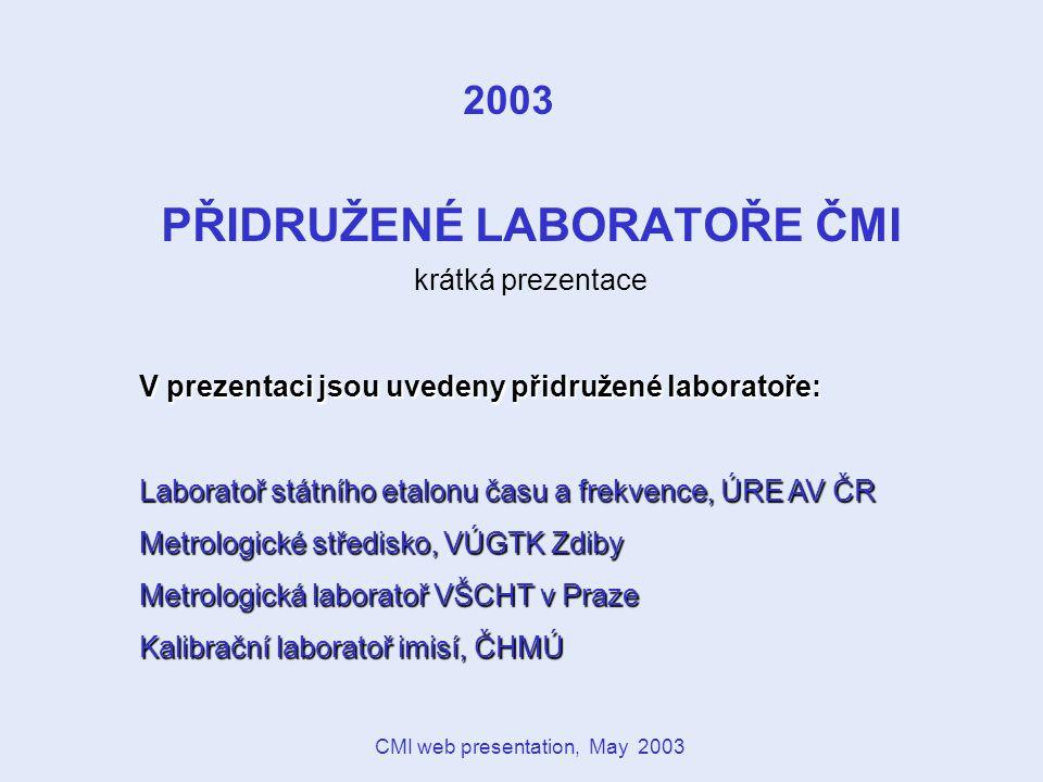 CMI web presentation, May 2003 NÁRODNÍ METROLOGICKÝ SYSTÉM Systém je decentralizovaný také na úrovni státních etalonů.