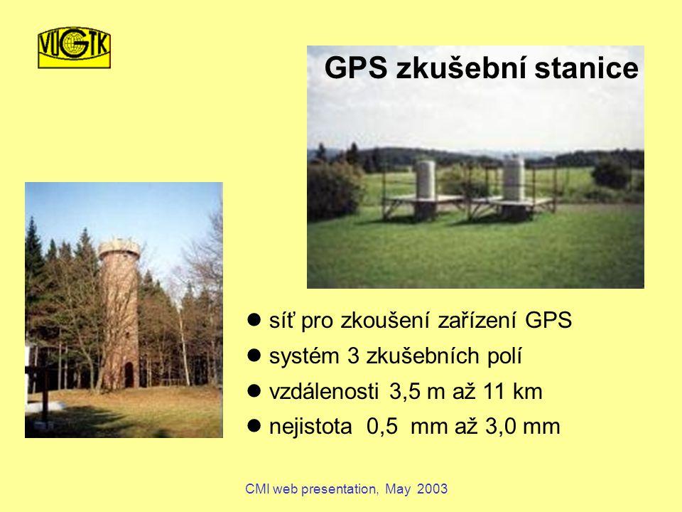 CMI web presentation, May 2003 síť pro zkoušení zařízení GPS systém 3 zkušebních polí vzdálenosti 3,5 m až 11 km nejistota 0,5 mm až 3,0 mm GPS zkušební stanice