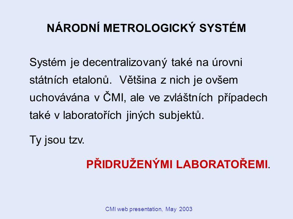 CMI web presentation, May 2003 Vysoká škola chemicko-technologická v Praze Metrologická laboratoř PŘIDRUŽENÁ LABORATOŘ