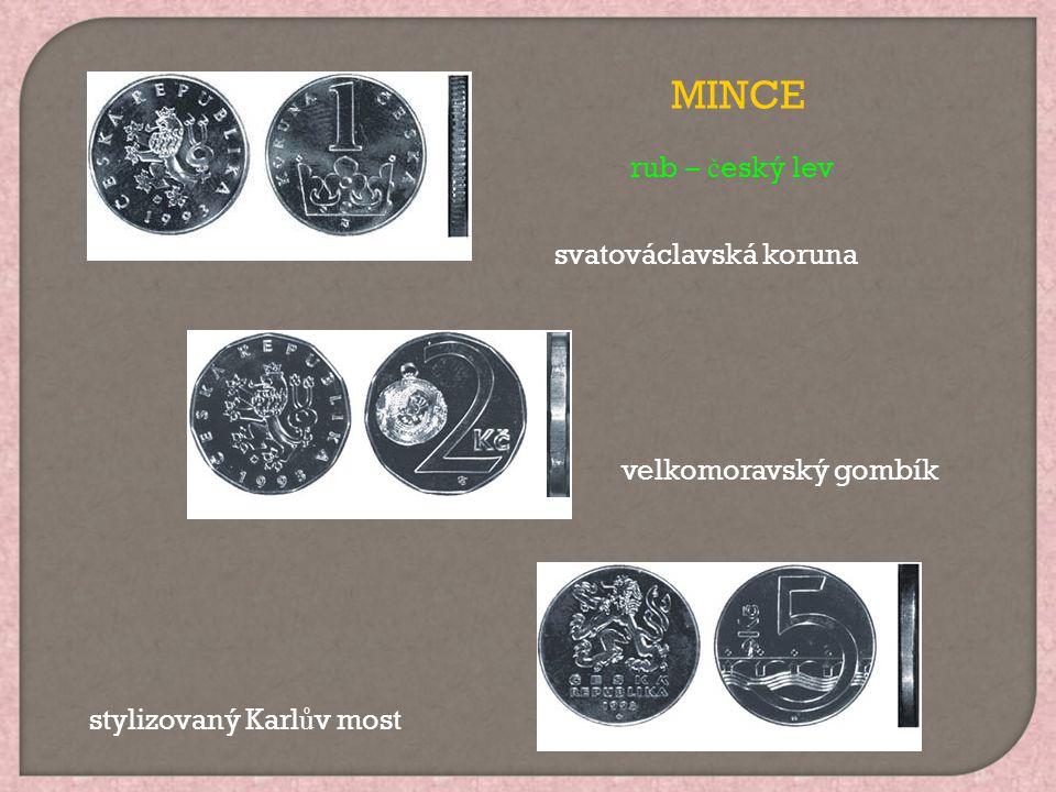 svatováclavská koruna velkomoravský gombík stylizovaný Karl ů v most MINCE rub – č eský lev