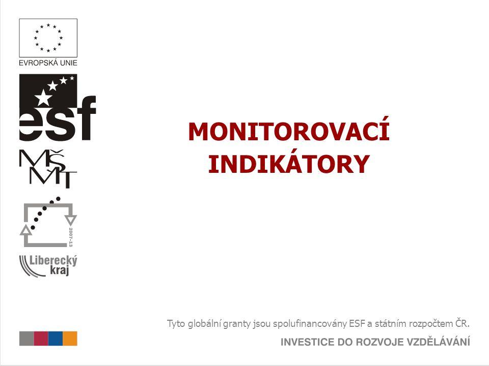 MONITOROVACÍ INDIKÁTORY Tyto globální granty jsou spolufinancovány ESF a státním rozpočtem ČR.