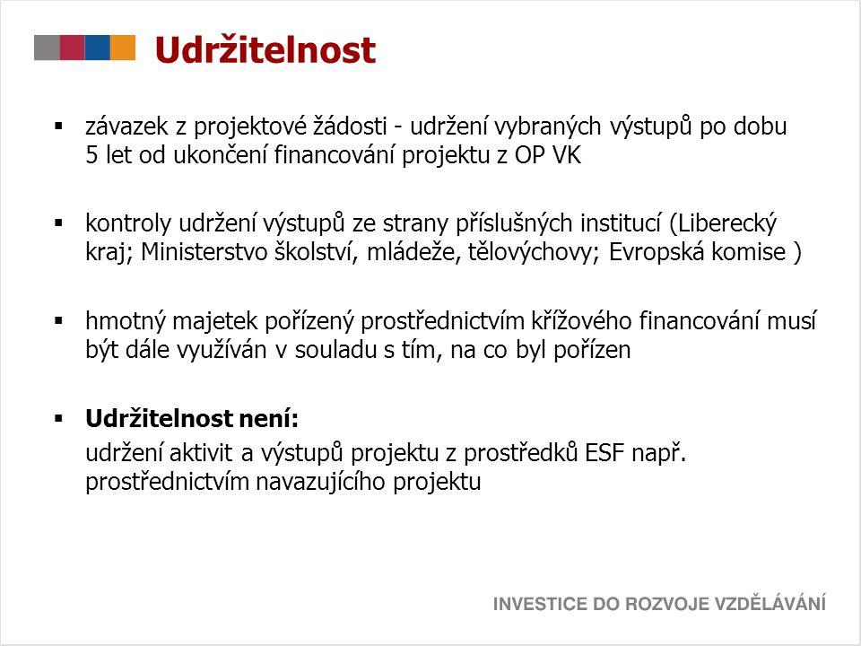 Udržitelnost  závazek z projektové žádosti - udržení vybraných výstupů po dobu 5 let od ukončení financování projektu z OP VK  kontroly udržení výst