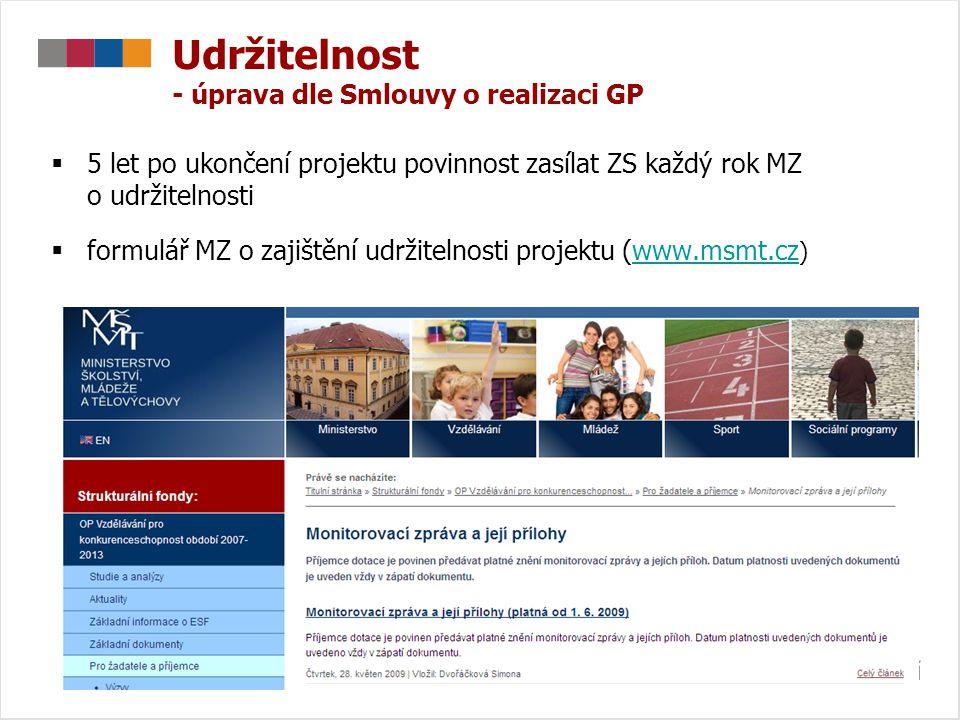 Udržitelnost - úprava dle Smlouvy o realizaci GP  5 let po ukončení projektu povinnost zasílat ZS každý rok MZ o udržitelnosti  formulář MZ o zajišt