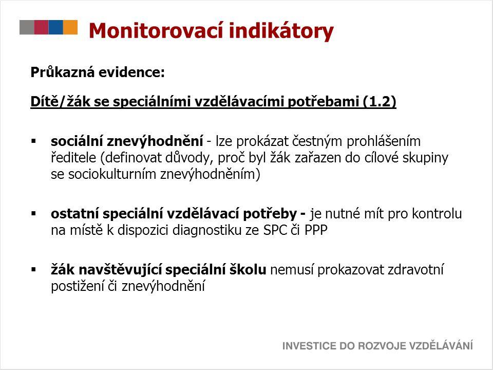 Monitorovací indikátory Průkazná evidence: Dítě/žák se speciálními vzdělávacími potřebami (1.2)  sociální znevýhodnění - lze prokázat čestným prohláš