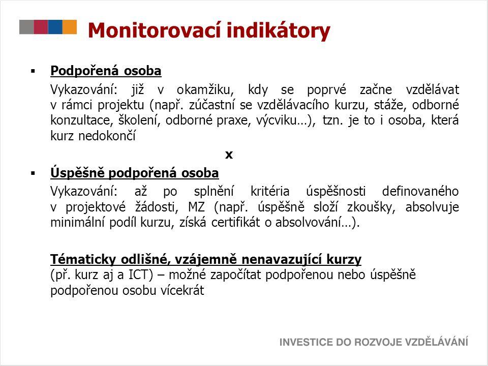 Monitorovací indikátory  Podpořená osoba Vykazování: již v okamžiku, kdy se poprvé začne vzdělávat v rámci projektu (např. zúčastní se vzdělávacího k