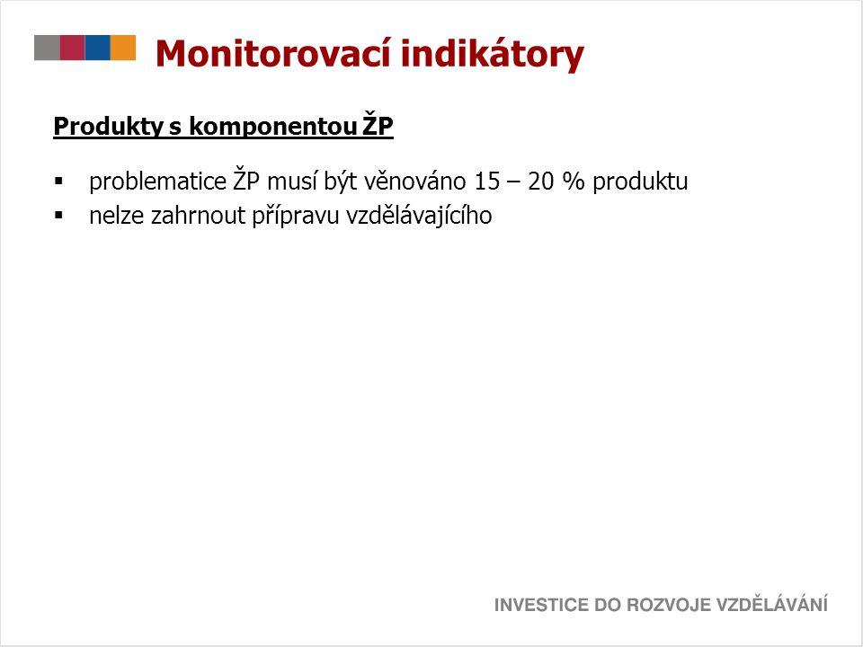 Monitorovací indikátory Produkty s komponentou ŽP  problematice ŽP musí být věnováno 15 – 20 % produktu  nelze zahrnout přípravu vzdělávajícího