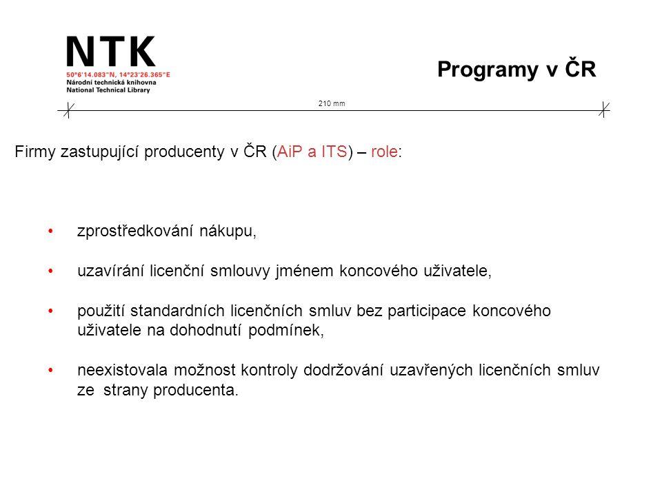 210 mm Programy v ČR Firmy zastupující producenty v ČR (AiP a ITS) – role: zprostředkování nákupu, uzavírání licenční smlouvy jménem koncového uživate