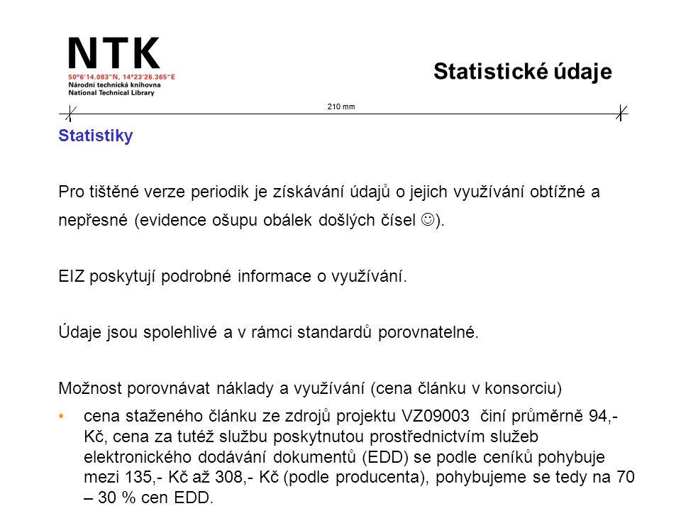 210 mm Statistiky Pro tištěné verze periodik je získávání údajů o jejich využívání obtížné a nepřesné (evidence ošupu obálek došlých čísel ). EIZ posk