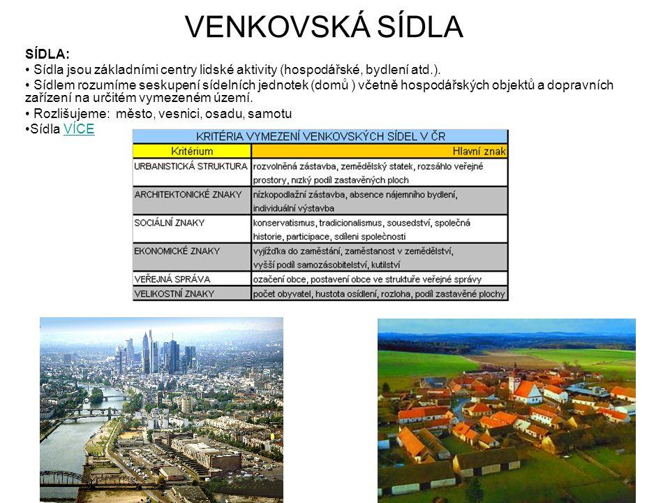 VENKOVSKÁ SÍDLA SÍDLA: Sídla jsou základními centry lidské aktivity (hospodářské, bydlení atd.). Sídlem rozumíme seskupení sídelních jednotek (domů )