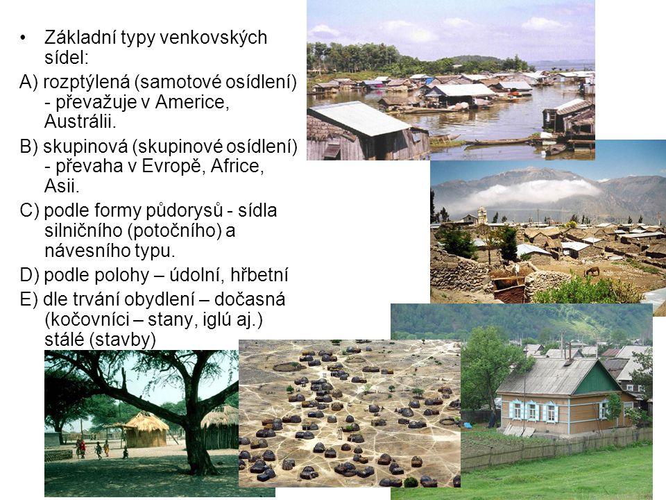 Základní typy venkovských sídel: A) rozptýlená (samotové osídlení) - převažuje v Americe, Austrálii. B) skupinová (skupinové osídlení) - převaha v Evr