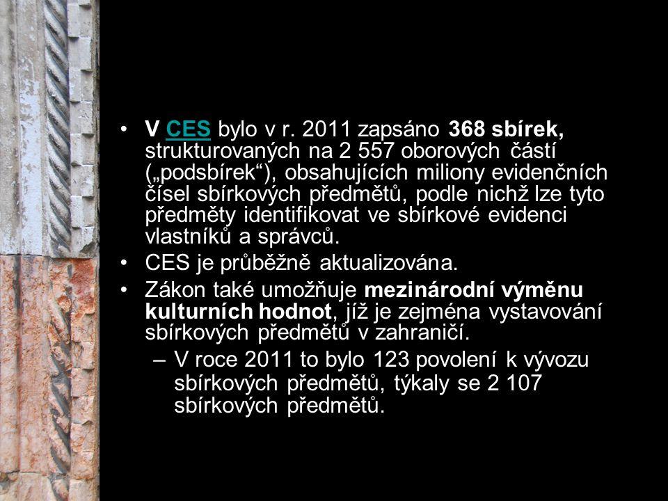 """V CES bylo v r. 2011 zapsáno 368 sbírek, strukturovaných na 2 557 oborových částí (""""podsbírek""""), obsahujících miliony evidenčních čísel sbírkových pře"""
