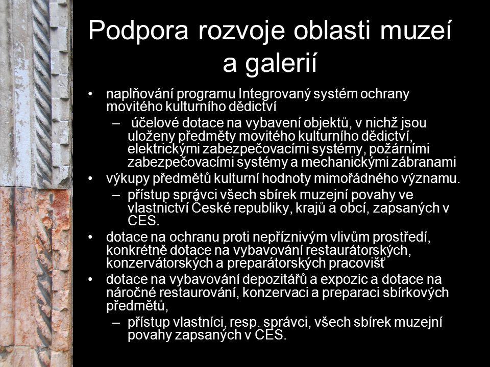 Podpora rozvoje oblasti muzeí a galerií naplňování programu Integrovaný systém ochrany movitého kulturního dědictví – účelové dotace na vybavení objek