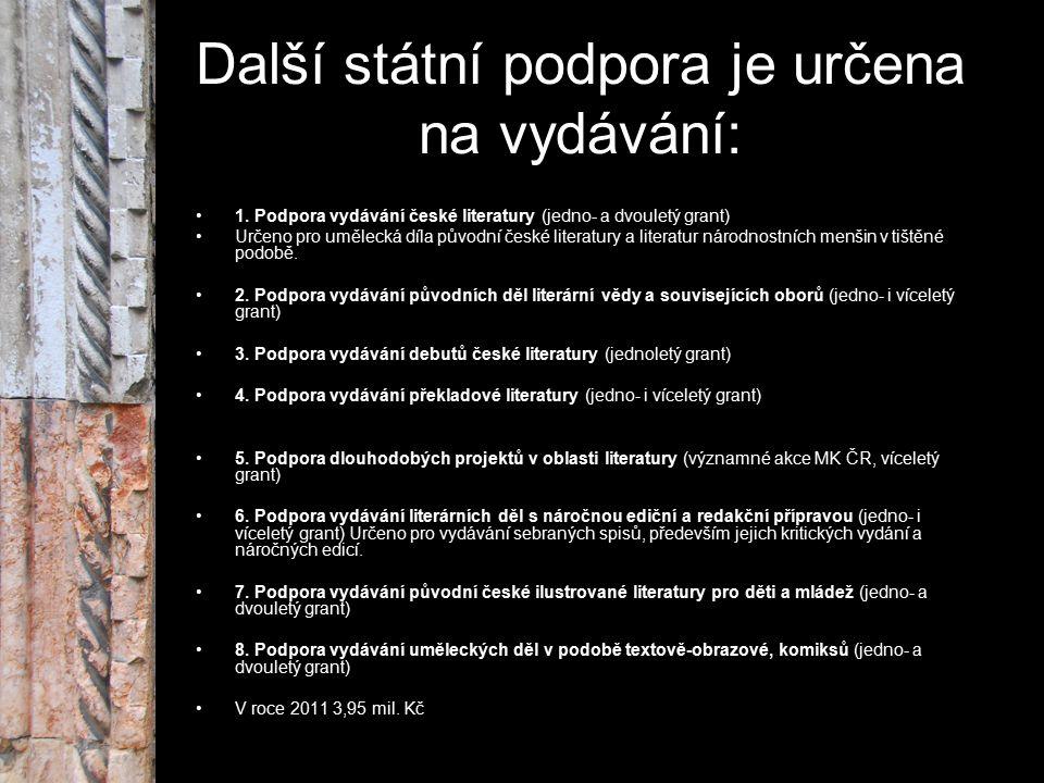 Další státní podpora je určena na vydávání: 1. Podpora vydávání české literatury (jedno- a dvouletý grant) Určeno pro umělecká díla původní české lite
