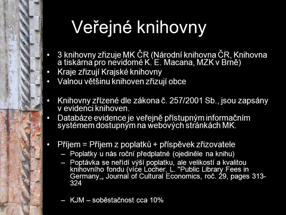 Veřejné knihovny 3 knihovny zřizuje MK ČR (Národní knihovna ČR, Knihovna a tiskárna pro nevidomé K. E. Macana, MZK v Brně) Kraje zřizují Krajské kniho