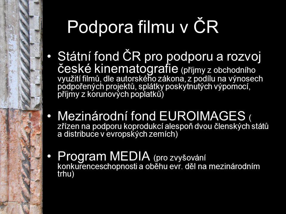 Podpora filmu v ČR Státní fond ČR pro podporu a rozvoj české kinematografie (příjmy z obchodního využití filmů, dle autorského zákona, z podílu na výn