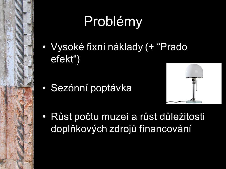 """Problémy Vysoké fixní náklady (+ """"Prado efekt"""") Sezónní poptávka Růst počtu muzeí a růst důležitosti doplňkových zdrojů financování"""