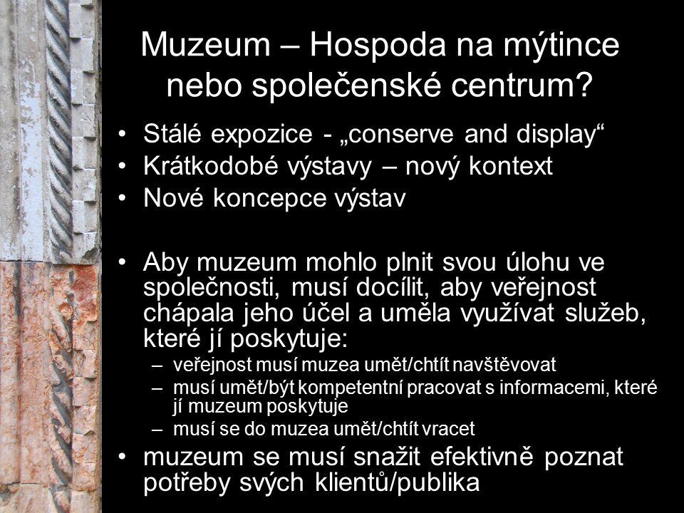 """Muzeum – Hospoda na mýtince nebo společenské centrum? Stálé expozice - """"conserve and display"""" Krátkodobé výstavy – nový kontext Nové koncepce výstav A"""