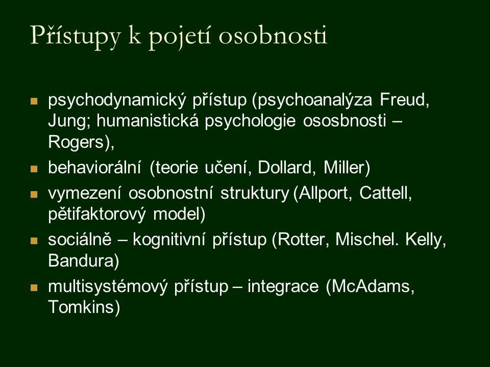 Přístupy k pojetí osobnosti psychodynamický přístup (psychoanalýza Freud, Jung; humanistická psychologie ososbnosti – Rogers), behaviorální (teorie uč