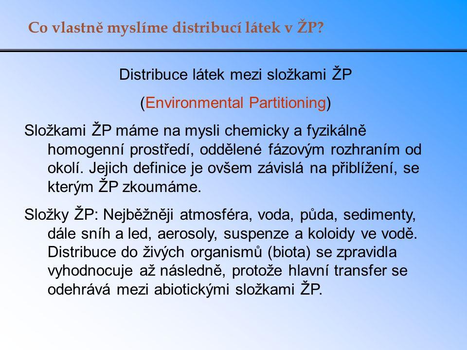 Co vlastně myslíme distribucí látek v ŽP? Distribuce látek mezi složkami ŽP (Environmental Partitioning) Složkami ŽP máme na mysli chemicky a fyzikáln