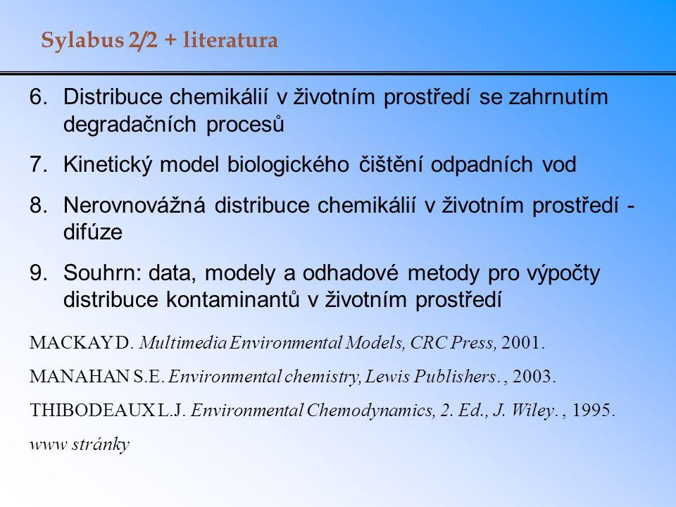 6.Distribuce chemikálií v životním prostředí se zahrnutím degradačních procesů 7.Kinetický model biologického čištění odpadních vod 8.Nerovnovážná dis