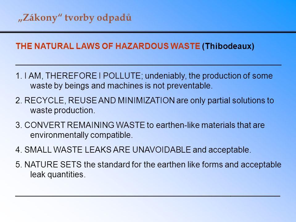 """Zákony"" tvorby odpadů THE NATURAL LAWS OF HAZARDOUS WASTE (Thibodeaux) __________________________________________________________ 1. I AM, THEREFORE"