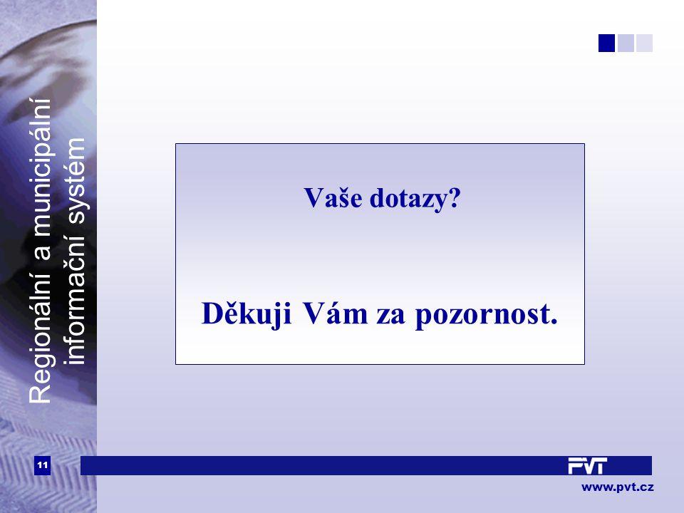 11 www.pvt.cz Regionální a municipální informační systém Vaše dotazy? Děkuji Vám za pozornost.