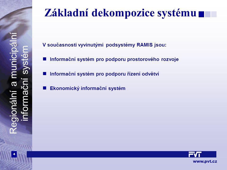 4 www.pvt.cz Regionální a municipální informační systém Základní dekompozice systému V současnosti vyvinutými podsystémy RAMIS jsou: Informační systém pro podporu prostorového rozvoje Informační systém pro podporu řízení odvětví Ekonomický informační systém