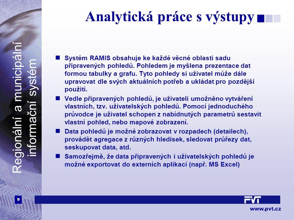 9 www.pvt.cz Regionální a municipální informační systém Analytická práce s výstupy Systém RAMIS obsahuje ke každé věcné oblasti sadu připravených pohledů.