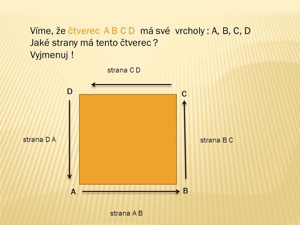 Víme, že čtverec A B C D má své vrcholy : A, B, C, D Jaké strany má tento čtverec ? Vyjmenuj ! A B C D strana A B strana B C strana C D strana D A