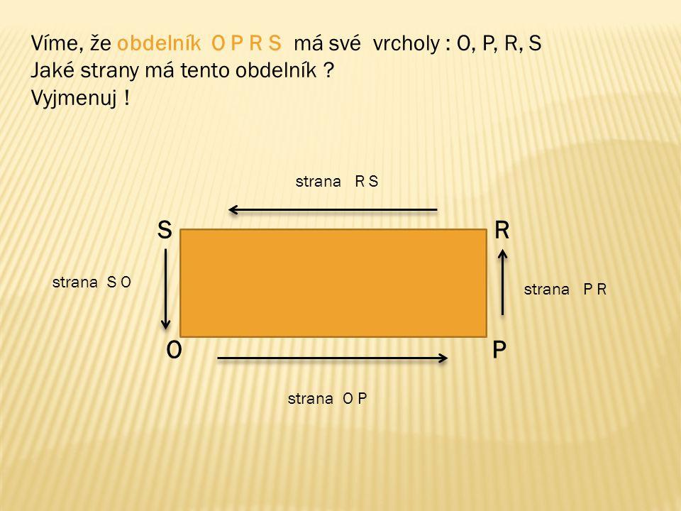 Víme, že obdelník O P R S má své vrcholy : O, P, R, S Jaké strany má tento obdelník ? Vyjmenuj ! OP RS strana O P strana P R strana R S strana S O