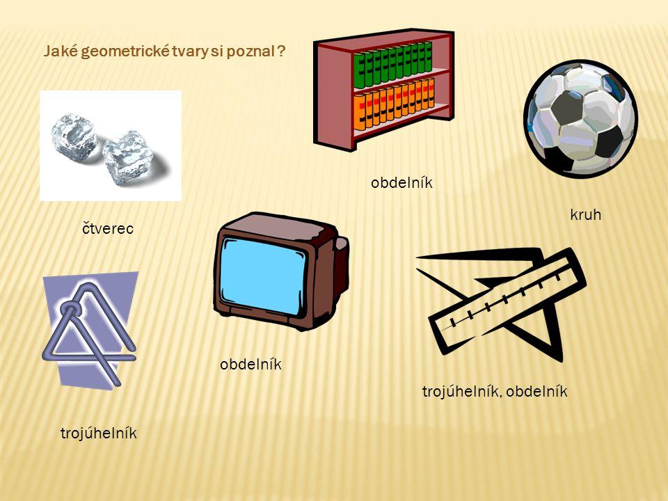 kruh čtverec trojúhelník, obdelník Jmenuj sám, které předměty a věci ti připomínají tyto geometrické tvary.