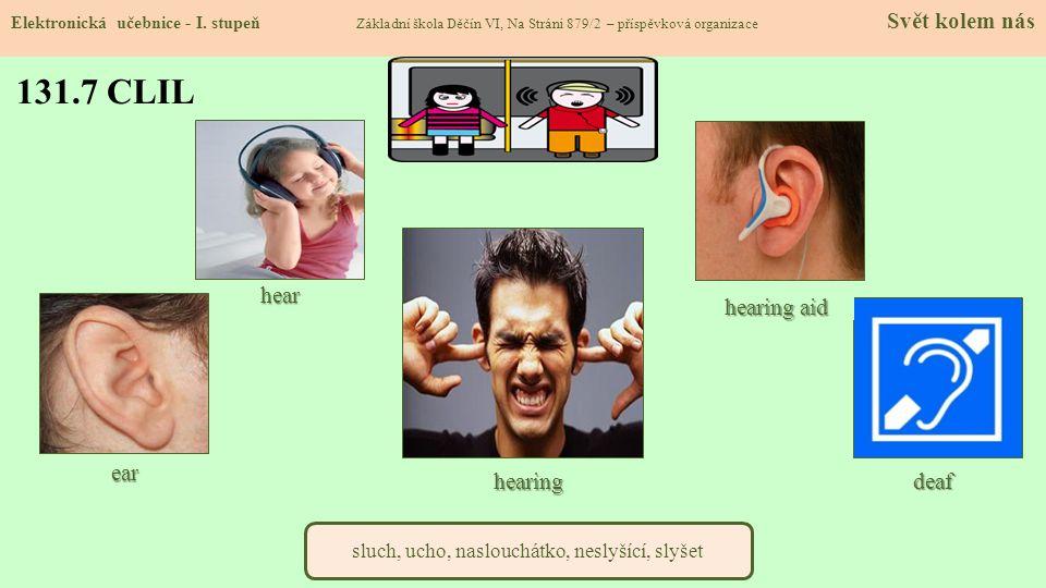 131.7 CLIL Elektronická učebnice - I. stupeň Základní škola Děčín VI, Na Stráni 879/2 – příspěvková organizace Svět kolem nás sluch, ucho, naslouchátk