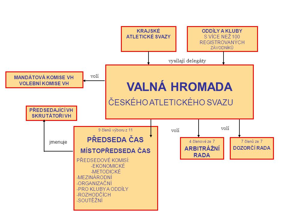 Organizační struktura ČAS VÝBOR ČAS 9 členů volených valnou hromadou 2 členové, tj.