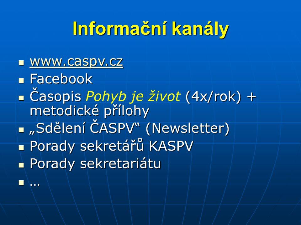 """Informační kanály www.caspv.cz www.caspv.cz www.caspv.cz Facebook Facebook Časopis (4x/rok) + metodické přílohy Časopis Pohyb je život (4x/rok) + metodické přílohy """"Sdělení ČASPV (Newsletter) """"Sdělení ČASPV (Newsletter) Porady sekretářů KASPV Porady sekretářů KASPV Porady sekretariátu Porady sekretariátu …"""
