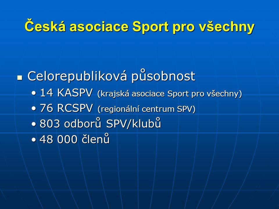 Česká asociace Sport pro všechny Celorepubliková působnost Celorepubliková působnost 14 KASPV (krajská asociace Sport pro všechny)14 KASPV (krajská asociace Sport pro všechny) 76 RCSPV (regionální centrum SPV)76 RCSPV (regionální centrum SPV) 803 odborů SPV/klubů803 odborů SPV/klubů 48 000 členů48 000 členů