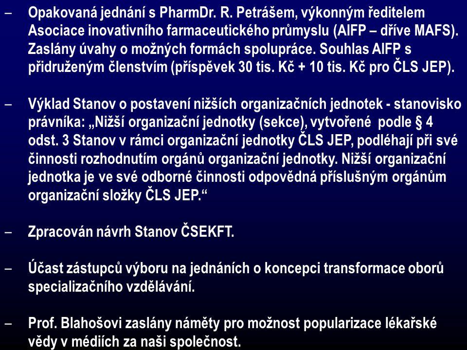 – Opakovaná jednání s PharmDr. R. Petrášem, výkonným ředitelem Asociace inovativního farmaceutického průmyslu (AIFP – dříve MAFS). Zaslány úvahy o mož