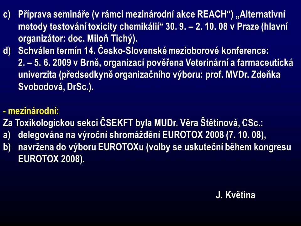 """c)Příprava semináře (v rámci mezinárodní akce REACH"""") """"Alternativní metody testování toxicity chemikálií"""" 30. 9. – 2. 10. 08 v Praze (hlavní organizát"""