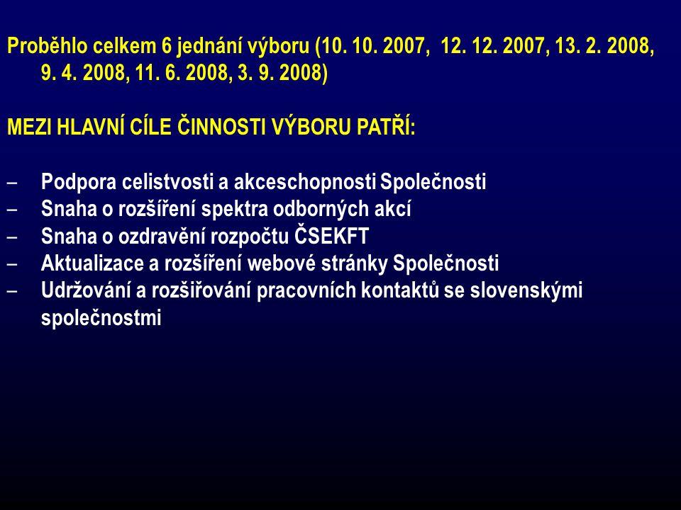 Proběhlo celkem 6 jednání výboru (10.10. 2007, 12.